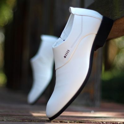 夏季白色男士皮鞋青年英伦韩版尖头男鞋子套脚商务正装皮鞋透气鞋