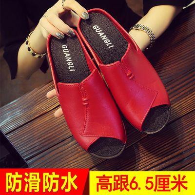 2020新款坡跟凉拖鞋女夏时尚韩版外穿松糕厚底鱼嘴一字拖高跟拖鞋