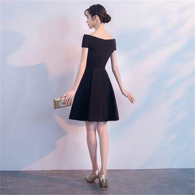 黑色晚礼服日常小礼服宴会聚会一字肩生日派对学生韩版礼服女短款