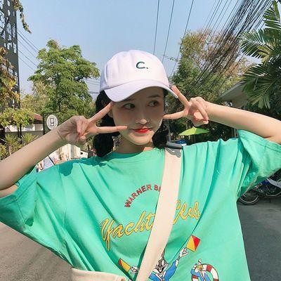 ins软妹韩国潮流新款软顶鸭舌帽子女夏天韩版学生百搭白色棒球帽