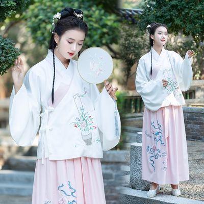 实拍明制交领琵琶袖袄裙传统汉服长袖汉元素写真服女上袄下裙套装