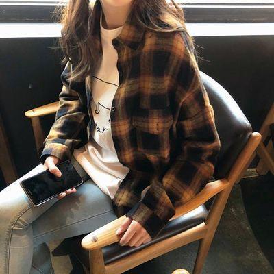 大码女装200斤胖妹妹2020秋季韩版复古格子宽松显瘦衬衫休闲衬衣