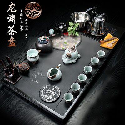 整块乌金石茶盘功夫茶具套装家用全自动四合一整套大号流水石茶