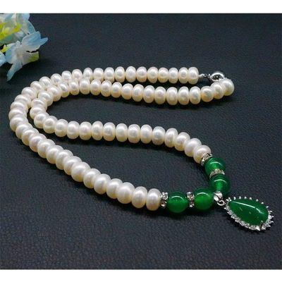 全天然淡水珍珠项链 珍珠锁骨链镶925银玉髓吊坠套装送妈妈