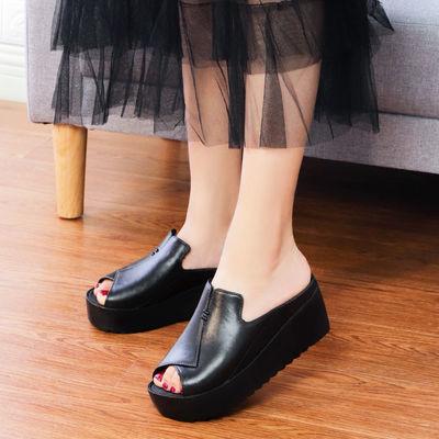坡跟凉拖鞋女士夏外穿2019新款时尚厚底松糕百搭外出鱼嘴高跟拖鞋
