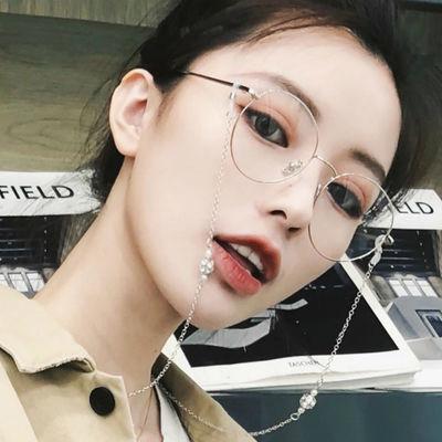 近视眼镜女韩版复古带链条ins原宿眼镜金丝边防辐射学生平光镜潮