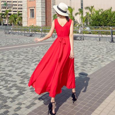 波西米亚长裙沙滩裙女夏2020新款海边度假裙子红色蓝色雪纺连衣裙