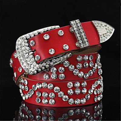 【买一送三】女士腰带女款皮带带钻装饰针扣时尚宽水钻镶嵌裤带百
