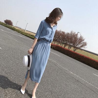 赫本风连衣裙女长裙2019新款春夏韩版开叉气质收腰显瘦超仙的裙子