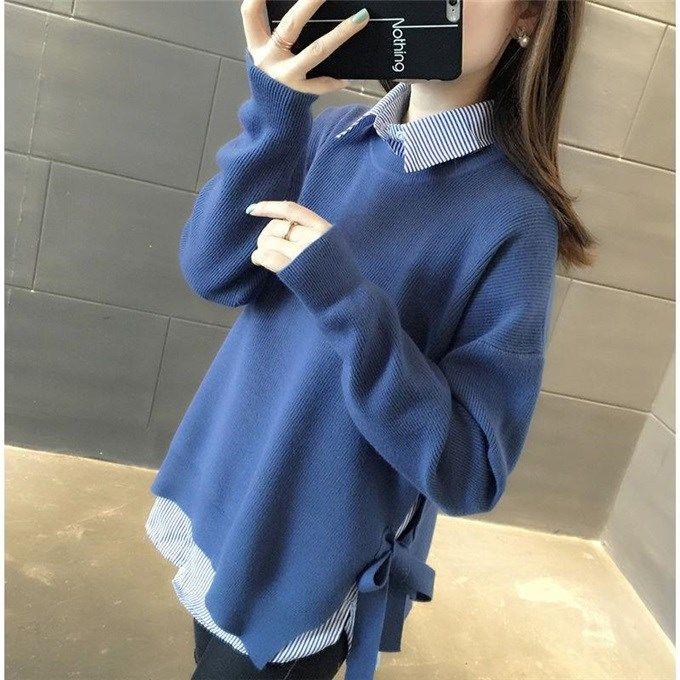 【两件套】条纹衬衫+系带针织衫春装新款宽松大码打底毛衣套装女