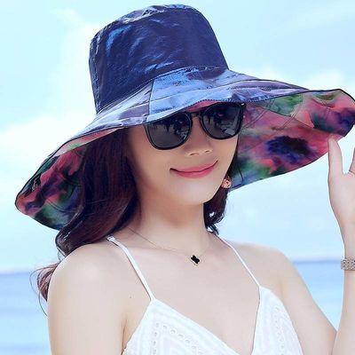 太阳帽子女夏天大沿遮阳帽防晒太阳帽出游防紫外线海边度假沙滩帽