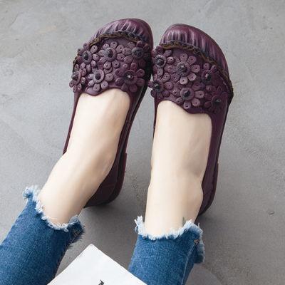 [温州]头层牛皮牛筋软底妈妈鞋民族风真皮手工舒适平底休闲单鞋女