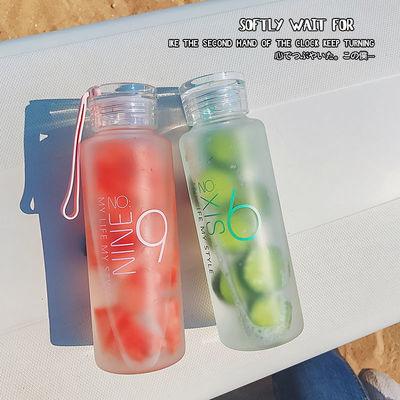 高硼硅磨砂玻璃杯女学生水杯女男韩版清新创意茶杯便携杯子450ML