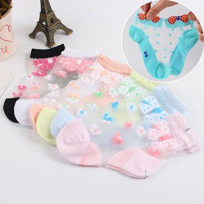 女童丝袜超薄款短袜中筒夏秋婴幼儿宝宝水晶丝袜透明冰凉袜子公主