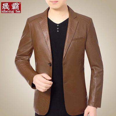 春秋季中年男士西服皮衣修身PU皮夹克男西装领皮衣小西装秋装外套