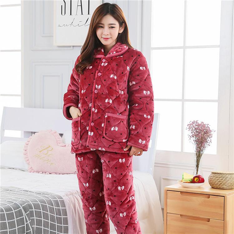 便宜的睡衣女冬季珊瑚绒加厚加绒三层夹棉睡衣法兰绒家居服甜美冬天棉袄