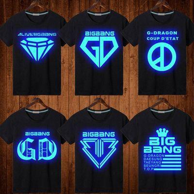 BIGBANG权志龙GD短袖T恤夜光发光皇冠VIP半袖男女青少年中小学生
