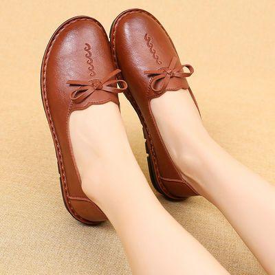 妈妈单鞋春秋软底防滑中老年鞋平底孕妇单鞋圆头浅口舒适中年女鞋