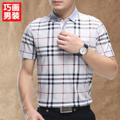 巧画2019年夏季新款中年男士短袖T恤宽松翻领多口袋爸爸装棉T恤