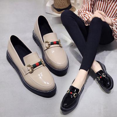 2020新款单鞋女鞋子低帮鞋欧美英伦时尚甜美女性职业内增高小皮鞋