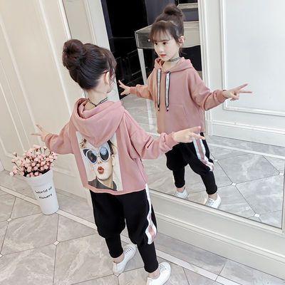 儿童春季新款卫衣两件套装中大童女孩子春天洋气韩版时髦休闲衣服