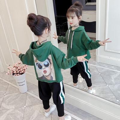 女童春季套装2020新款中大女孩时髦头像儿童两件套休闲潮运动卫衣
