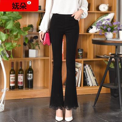 【妩朵】新款韩版时尚蕾丝喇叭打底裤女弹力外穿修身喇叭妈妈长裤