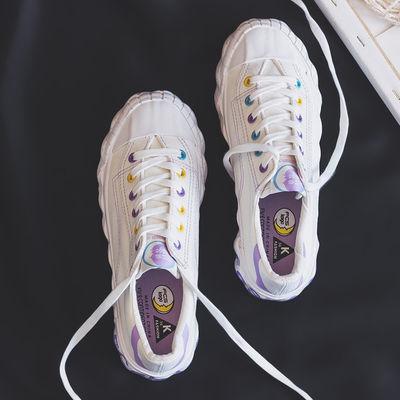 春夏帆布鞋女复古ins港味板鞋2020新款学生鞋街拍chic百搭小白鞋