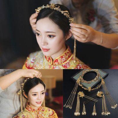 结婚禾和秀服禾秀服头饰古装发饰新娘凤冠流苏中式复古