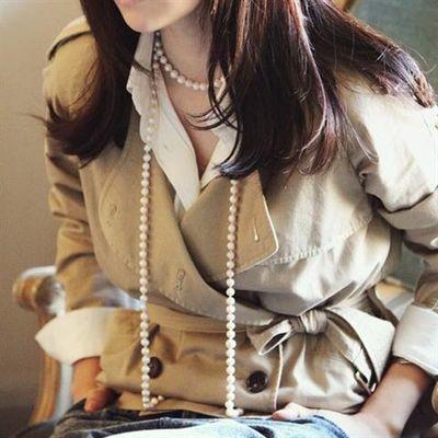 气质韩国韩版饰品白色黑色长款时尚复古百搭多层珍珠项链毛衣链女