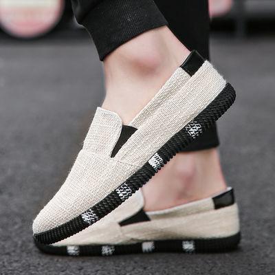夏季亚麻帆布鞋男韩版休闲鞋男士一脚蹬懒人鞋潮流麻布鞋透气板鞋