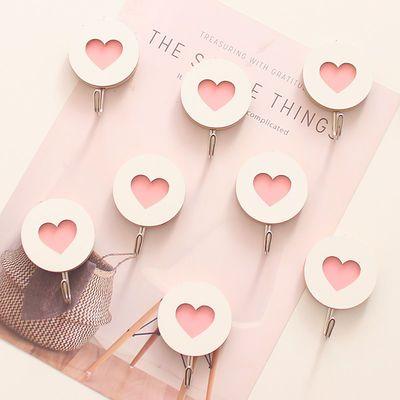 少女心挂钩可爱卡通创意粉色家用不锈钢厨房强力不干胶免打孔粘钩
