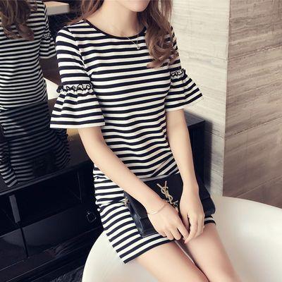 夏天新连衣裙中长款t恤女条纹宽松韩版短袖大学生打底衫上衣服