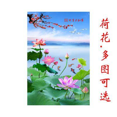 莲花荷花海报自然风景壁画花卉图荷叶房间玄关走道装饰贴墙画自粘