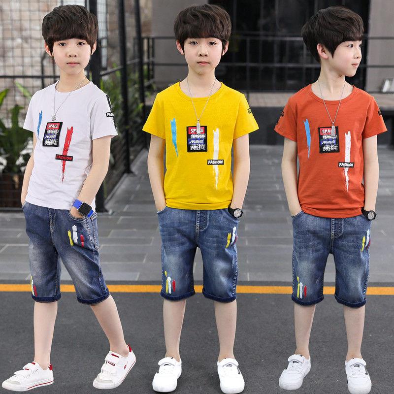 限時特價,頂級奧代爾面料:優迪酷 男童 20年新款 短袖+牛仔短褲套裝