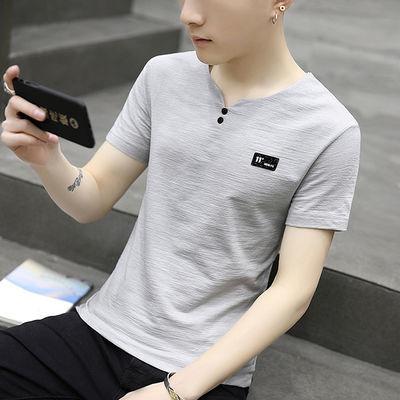 亚麻短袖男士t恤夏季韩版纯棉修身上衣服男生棉麻T恤V领半袖小衫