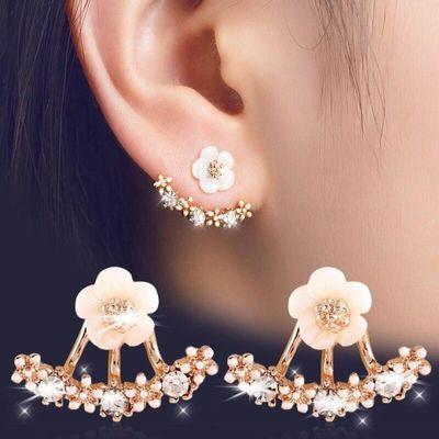 网红耳钉闪钻珍珠耳针银针耳饰耳环耳坠珍珠耳环纯银防过敏豆豆钉