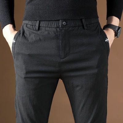 春秋新款男士夏天裤子棉质休闲男裤外穿弹力宽松爸爸装休闲裤薄款