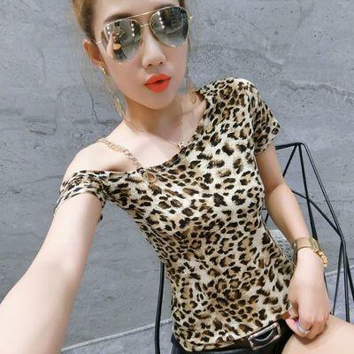 夏季新款夜店t恤女短袖修身显瘦百搭豹纹上衣半袖性感露肩体��潮