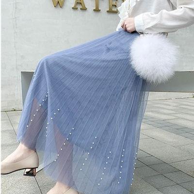 春夏新款钉珠仙女网纱百褶半身裙中长款高腰显瘦甜美时尚纱裙潮