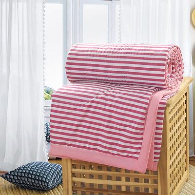 日式水洗棉夏被空调被夏凉被可水洗简约条纹单双人夏天薄被子