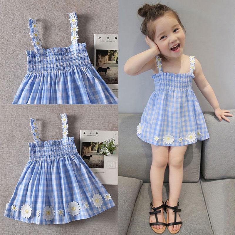 女童纯棉连衣裙夏装新款儿童吊带裙公主裙格子童装中小童韩版裙子