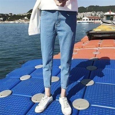 新款宽松直筒九分裤男士时尚休闲牛仔裤百搭浅蓝色9分修身裤子男