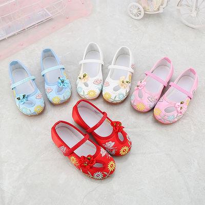 新款老北京儿童布鞋女童绣花鞋民族风宝宝公主鞋学生古装表演出鞋