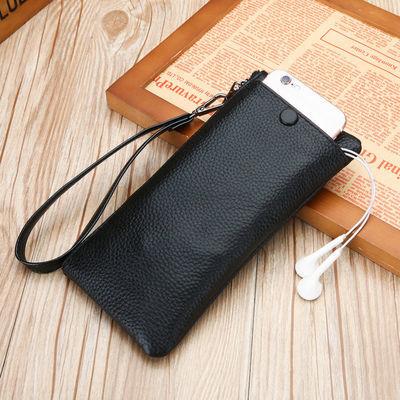 头层牛皮手机包男真皮钱包男士超薄长款拉链钱包手机包女新款包包