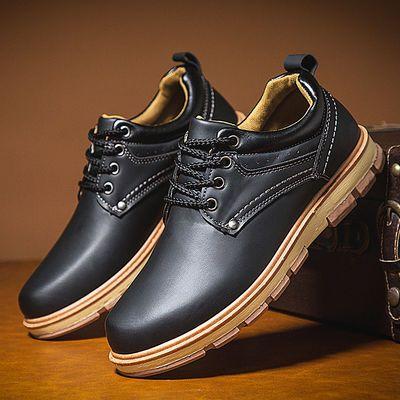 男士休闲皮鞋低帮耐磨雨鞋厨房防水防滑防油厨师鞋洗车劳保工作鞋
