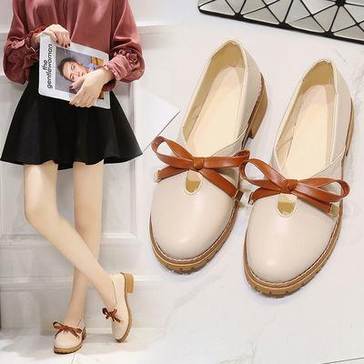 春夏季单鞋女2020新款韩版休闲小皮鞋女学生中跟粗跟百搭复古女鞋