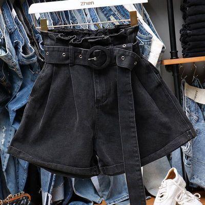 高腰牛仔短裤女夏季新款韩版大码宽松显瘦阔腿热裤翻边束腰黑短裤
