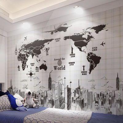 墙贴纸贴画卧室宿舍大学生海报墙上装饰北欧风墙壁纸自粘世界地图