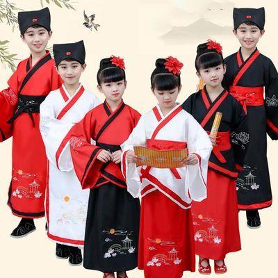 六一儿童古装汉服国学书童三字经弟子规演出服幼儿男女童表演服装